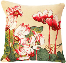 Cyclamen Floral French Tapestry Cushion Pillow Cover - 18 x 18 - NEW