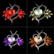 Fashion Crystal Rhinestone Heart Charm Pendant Necklace Women Jewelry Party Gift