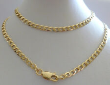 9ct 9k Solid Yellow Gold Flat Curb Chain, 3mm Wide, N118 CUSTOM