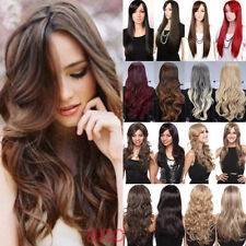 Women Long Hair Full Wig Natural Curly Wavy Ombre Synthetic Cosplay Party Wigs 9