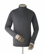 Savile Row Men's Charcoal Grey Merino Wool Roll Neck Jumper