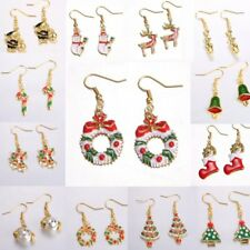 Lovely Christmas Xmas Gold Garland Drop Dangle Earrings Hook Womens Family Gift