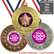 GYMNASTICS FEMALE METAL MEDALS, PACK OF 10,RIBBONS, INSERTS or OWN LOGO & TEXT