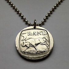 South Africa 5 rend coin pendant African necklace wildebeest antelope n001114