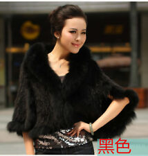 100%Real Knitted Mink Fur Fox Fur Collar Poncho Cape Stole Sweater Shawl Coats -