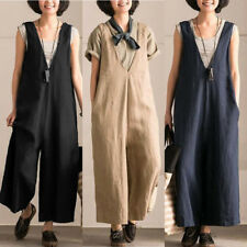 ZANZEA Women Loose Sleeveless Bib Overall Dungarees Jumpsuit Playsuit Rompers