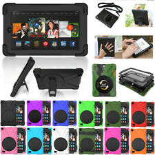 For Amazon Tablet Kindle Fire 7 HD 8 Armor Pirate Rotating Stand Case Cover Skin