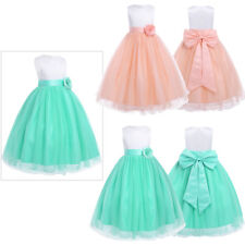 Girl Kid Flower Long Princess Dress For Wedding Bridesmaid Communion Party Gowns