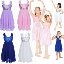 Girls Sequins Gymnastics Leotard Dress Ballet Dance Tutu Skirt Dancewear Costume