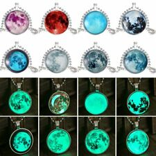 Fashion Silver Glow In The Dark Time Gem Moon Pendant Necklace Luminous Jewelry