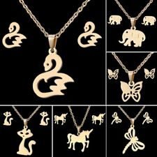 Stainless Steel Animal Butterfly Dragonfly Swan Necklace Earrings Jewelry Set