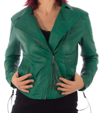 Diesel Womens Leather Jacket Green L-Sienna-C - new with tags