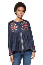 Desigual Blue Embroidered Denim Vetta Gypsy Blouse XS-XXL UK 8-18 RRP �74