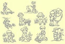 Gardening Kids Redwork Machine Embroidery CD- 20 Designs- By Anemone Embroidery
