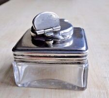 An Antique 19th Century Victorian Screw Lock Top Campaign Desk Inkwell