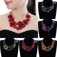 Vintage Gold Chain Rhinestone Crystal Charm Collar Choker Statement Bib Necklace