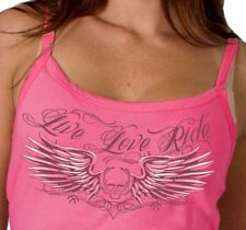 Motorcycle Ladies Tank Top Skull Live Love Ride Spaghetti Strap New Pink Biker