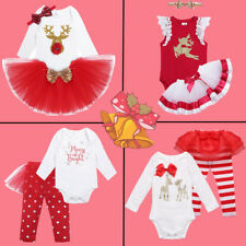 Set Baby Infant Girls Bodysuit Romper Christmas Pants Tutu Dress Clothes Outfits