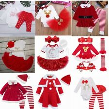 My First Christmas Infant Baby Girl Santa Romper Tutu Dress Outfit Set Costume