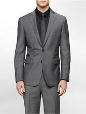 calvin klein mens body slim fit grey tick suit jacket