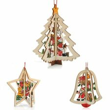 3D Christmas Xmas Tree Bell Pendants Hanging Wooden Decoration Home Party Decor