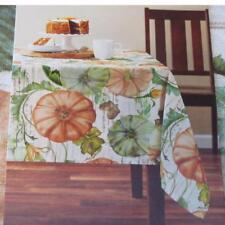 ALL SIZES 52x70~60x84~60x102~Fall Pumpkins Fabric Tablecloth~Thanksgiving~NEW