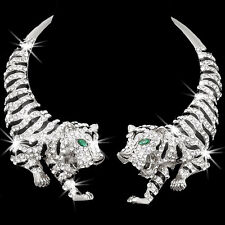 HUGE Silver O Gold Micro Pave Crystal Cz TIGER Animal Choker Statement Necklace