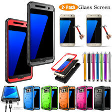 For Samsung Galaxy Phone - Slim Hard Armor Case Cover w/Glass Screen Protector
