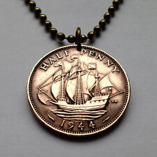UK Great Britain 1/2 penny coin pendant Golden Hind ship British England n000009