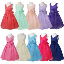 Kids Girls V Dress Party Wedding Bridesmaid Chiffon Flower Prom Gown Dress 2-14Y
