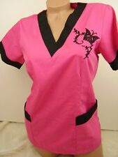 New Women Nursing Scrub Pink Black Embroidery Butterfly Poly/Cotton Top
