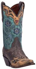 Dan Post VINTAGE BLUEBIRD Women's Chocolate-Teal Handcrafted Leather Boots