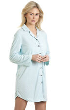 Ladies Spot Print Long Sleeve Button Front Fleece Nightdress Sleepwear 27403