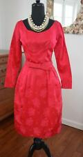 GORGEOUS Vtg 50s 60s Christmas Red Satin Brocade Cocktail Party Evening Dress! S