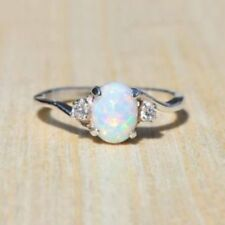 Women Lady Fashion Charm White Fire Silver Gem Ring Jewelry Gift Size 7/8/9/10