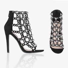 Womens Studded Caged Fashion Party High Heels Court Shoes Stiletto Pumps 3-8