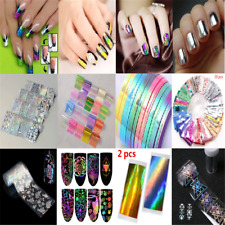 1-20PCS DIY Holo Laser Nail Art Stickers Stripe Line Nail Strip Tape Foil Decor