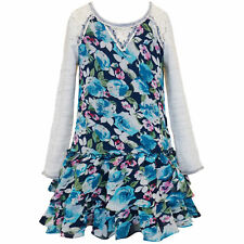 Tween Girls 7-16 Ivory/Blue Long Sleeve Lace Shoulder Drop Waist Dress,cTruly Me