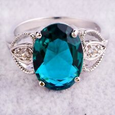 Fashion Wedding Bands Gift 12*16mm Green Topaz AAA Gemstones Silver Jewelry Ring