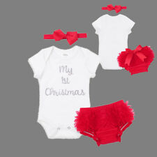 My 1st Christmas Outfits Girls Baby Xmas Party Clothes Set Bloomers T-shirt Bow