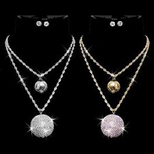 FIRE Disco BALL Pave Set Crystal Gold Silver ROPE Chain Statement Urban Necklace
