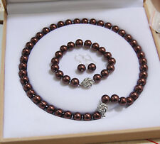 8-12mm Chocolate South Sea Shell Pearl Round Beads Necklace Bracelet  Earrings