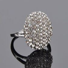 Pave Oval Ring Designer CZ Austrian Crystal Silver Tone Size 6  7 NEW