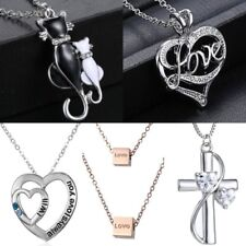 Stainless Steel Love Heart Cat Pendant Necklace Valentine's Day Gift Jewelry New