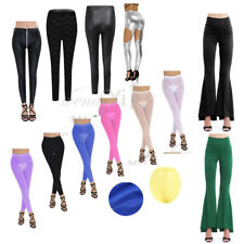 Women Wetlook Leather Stretch Pants Shiny Mesh Skinny Tight Leggings Trouser HOT