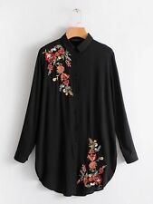 Womens Floral Embroidery Lapel Long Sleeve Long Shirt Tops Blouse 3 Colors SML