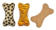 """WILD STYLE Soft Plush Bone Shaped Toys For Dogs With Squeaker & Animal Theme 12"""""""