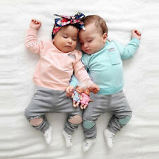 Newborn Infant Baby Boy Girl T-shirt Tops+Long Pants 2PCS Casual Outfits Clothes