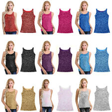 1920S Style Women Stretch Glitter Tank Vest Sequins Top Sequined Blouse T-shirt