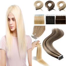 Tape In Glue Real Remy Human Hair Extensions Full Head 150G THICK Straight Hair